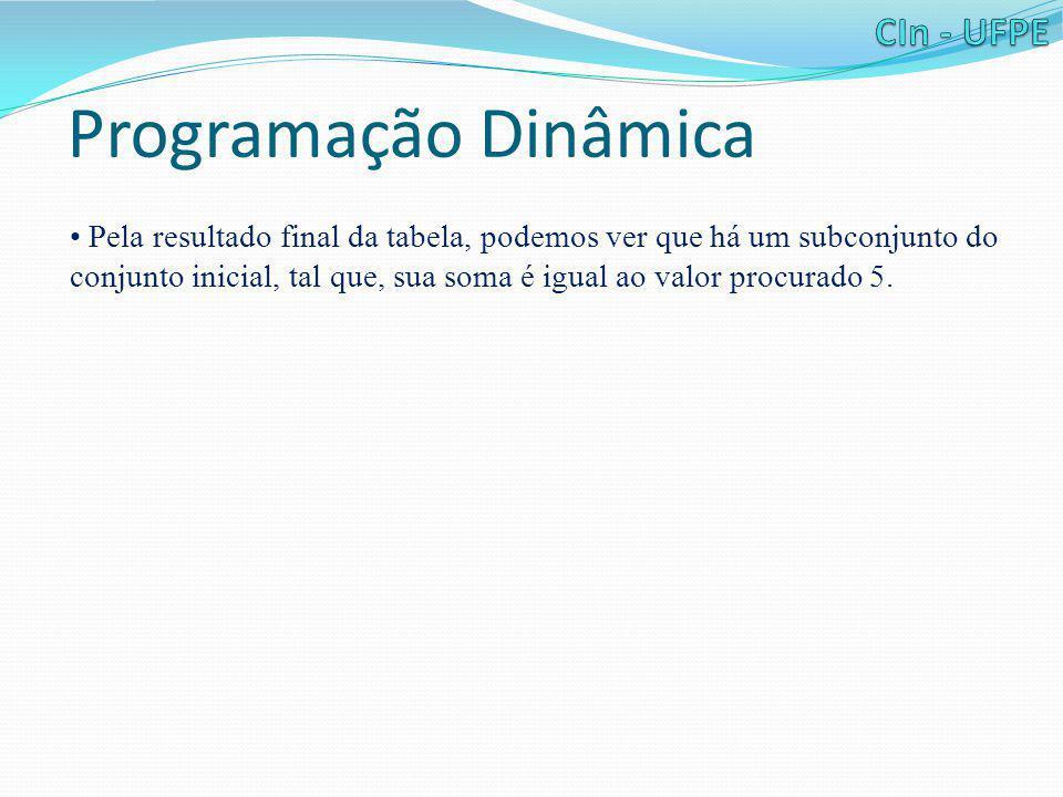 Programação Dinâmica • Pela resultado final da tabela, podemos ver que há um subconjunto do conjunto inicial, tal que, sua soma é igual ao valor procu