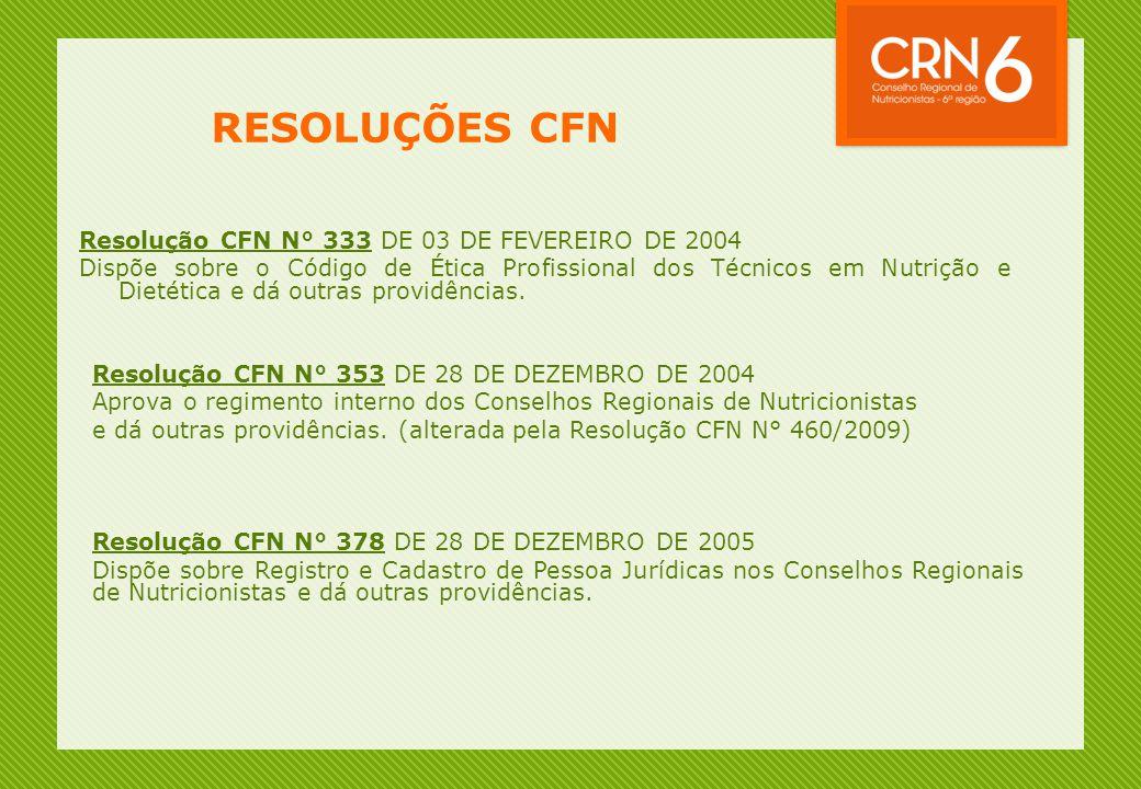 Resolução CFN N° 333 DE 03 DE FEVEREIRO DE 2004 Dispõe sobre o Código de Ética Profissional dos Técnicos em Nutrição e Dietética e dá outras providências.