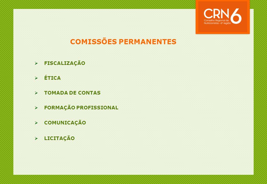 COMISSÕES PERMANENTES  FISCALIZAÇÃO  ÉTICA  TOMADA DE CONTAS  FORMAÇÃO PROFISSIONAL  COMUNICAÇÃO  LICITAÇÃO