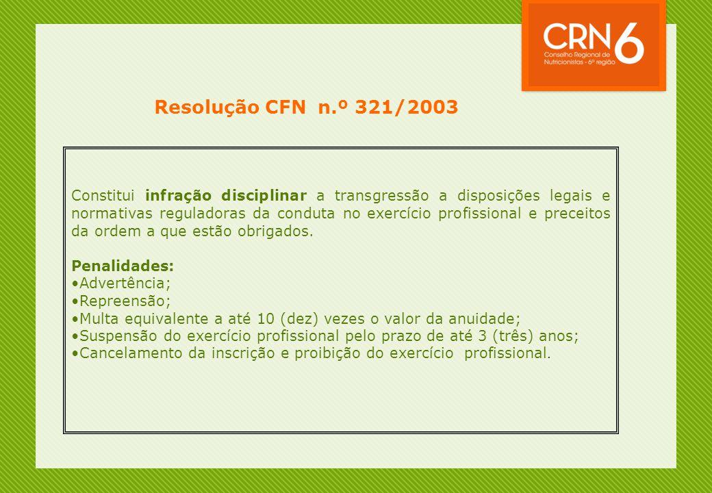 Resolução CFN n.º 321/2003 Constitui infração disciplinar a transgressão a disposições legais e normativas reguladoras da conduta no exercício profissional e preceitos da ordem a que estão obrigados.