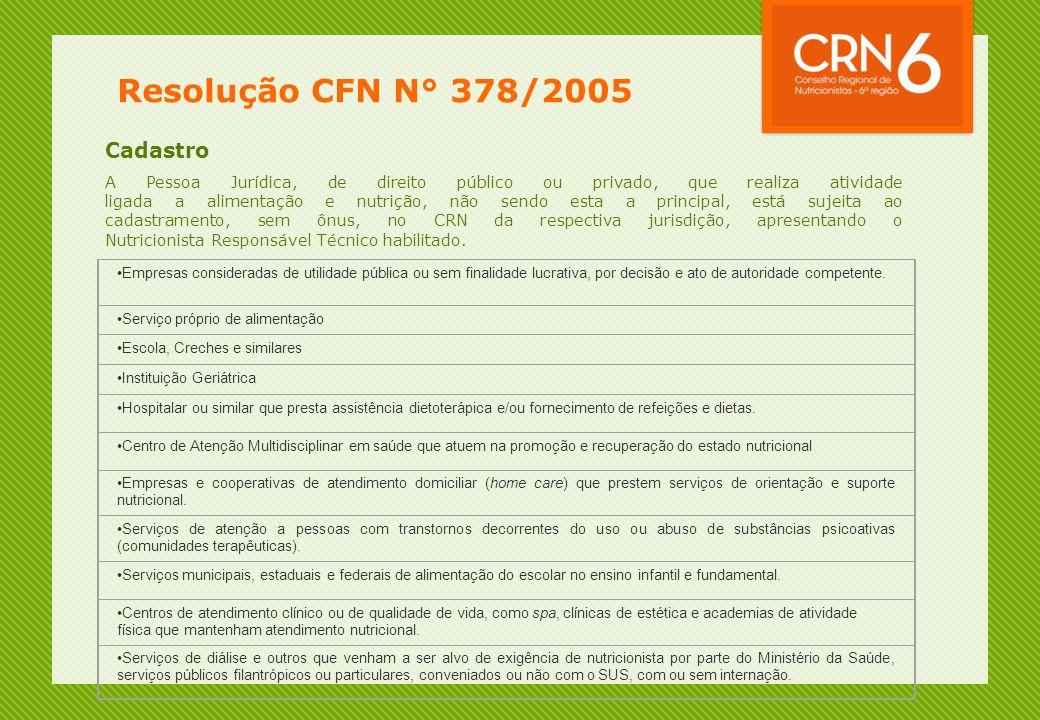 Resolução CFN N° 378/2005 Cadastro A Pessoa Jurídica, de direito público ou privado, que realiza atividade ligada a alimentação e nutrição, não sendo esta a principal, está sujeita ao cadastramento, sem ônus, no CRN da respectiva jurisdição, apresentando o Nutricionista Responsável Técnico habilitado.