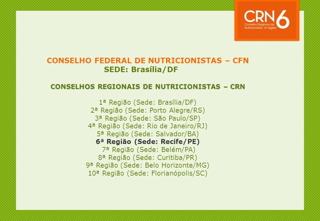 CONSELHO FEDERAL DE NUTRICIONISTAS – CFN SEDE: Brasília/DF CONSELHOS REGIONAIS DE NUTRICIONISTAS – CRN 1ª Região (Sede: Brasília/DF) 2ª Região (Sede: Porto Alegre/RS) 3ª Região (Sede: São Paulo/SP) 4ª Região (Sede: Rio de Janeiro/RJ) 5ª Região (Sede: Salvador/BA) 6ª Região (Sede: Recife/PE) 7ª Região (Sede: Belém/PA) 8ª Região (Sede: Curitiba/PR) 9ª Região (Sede: Belo Horizonte/MG) 10ª Região (Sede: Florianópolis/SC)