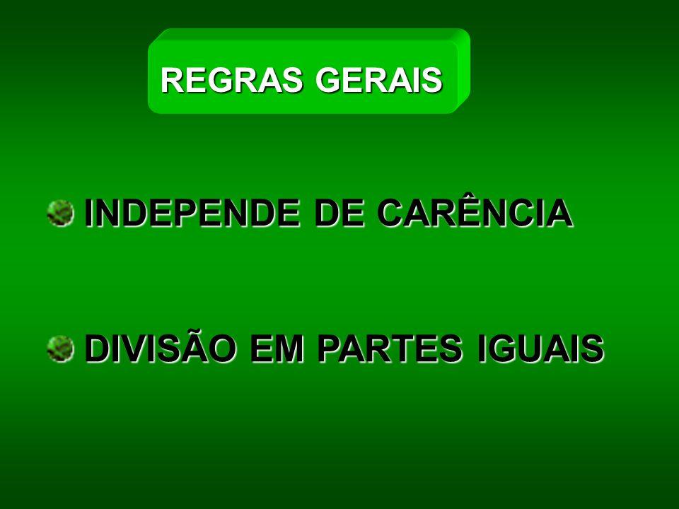 INDEPENDE DE CARÊNCIA INDEPENDE DE CARÊNCIA DIVISÃO EM PARTES IGUAIS DIVISÃO EM PARTES IGUAIS REGRAS GERAIS