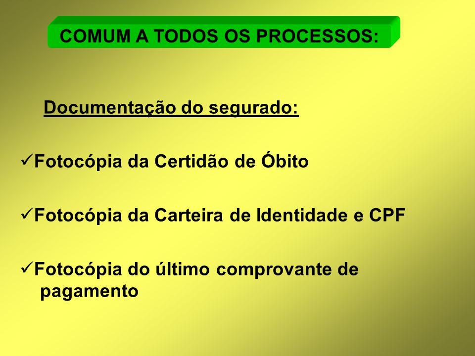 Documentação do segurado:  Fotocópia da Certidão de Óbito  Fotocópia da Carteira de Identidade e CPF  Fotocópia do último comprovante de pagamento