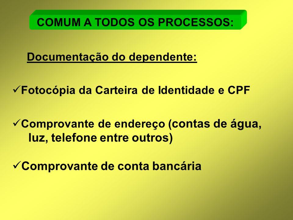 Documentação do dependente:  Fotocópia da Carteira de Identidade e CPF  Comprovante de endereço ( contas de água, luz, telefone entre outros)  Comp