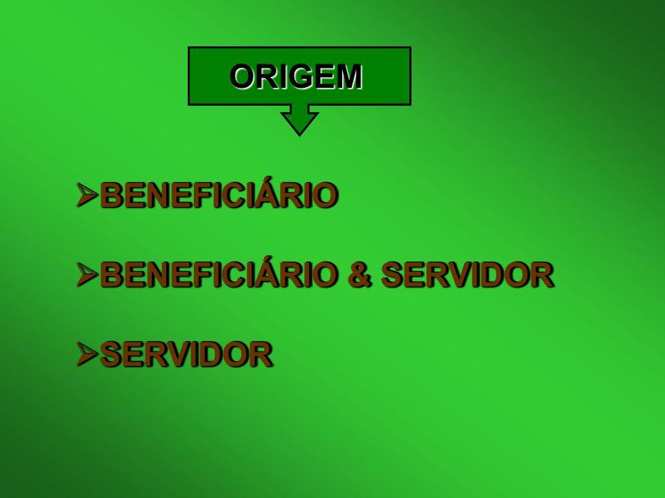 ORIGEM  BENEFICIÁRIO  BENEFICIÁRIO & SERVIDOR  SERVIDOR  BENEFICIÁRIO  BENEFICIÁRIO & SERVIDOR  SERVIDOR