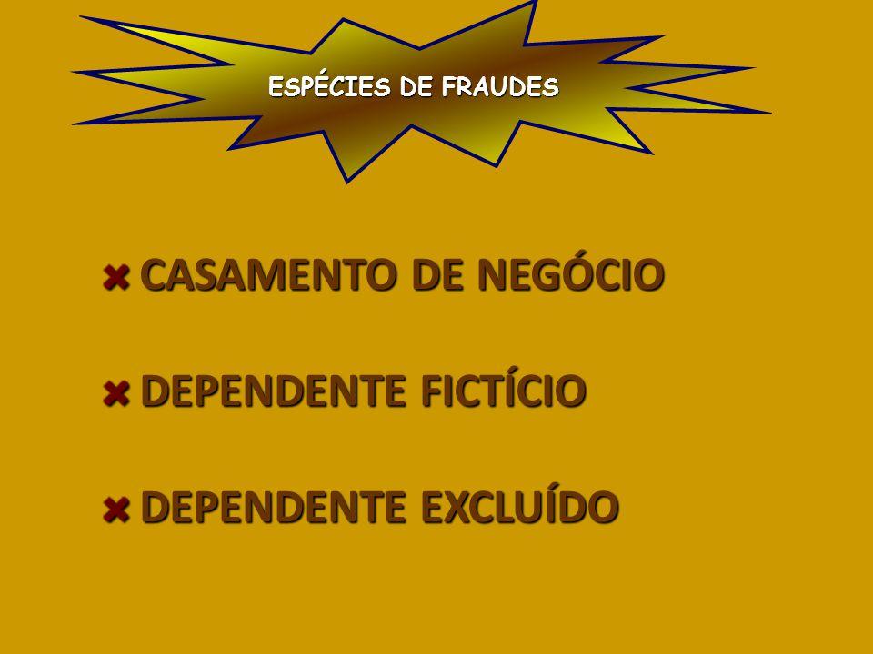 CASAMENTO DE NEGÓCIO CASAMENTO DE NEGÓCIO DEPENDENTE FICTÍCIO DEPENDENTE FICTÍCIO DEPENDENTE EXCLUÍDO DEPENDENTE EXCLUÍDO ESPÉCIES DE FRAUDES
