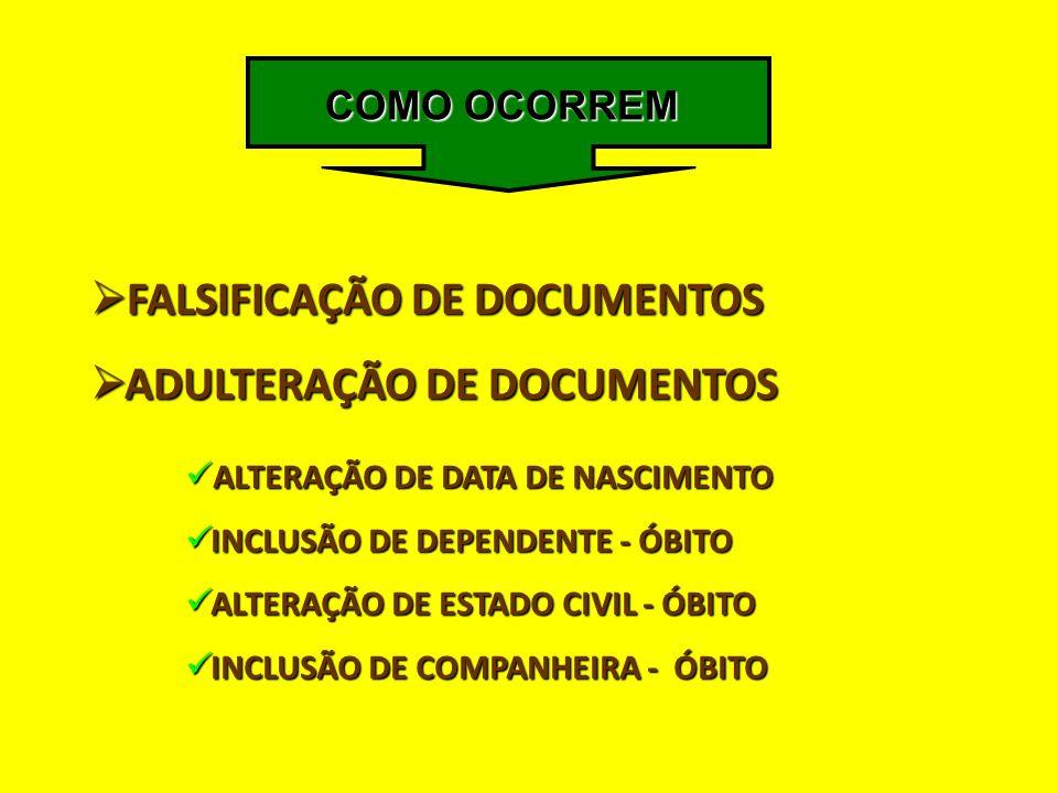  FALSIFICAÇÃO DE DOCUMENTOS  ADULTERAÇÃO DE DOCUMENTOS  ALTERAÇÃO DE DATA DE NASCIMENTO  INCLUSÃO DE DEPENDENTE - ÓBITO  ALTERAÇÃO DE ESTADO CIVI