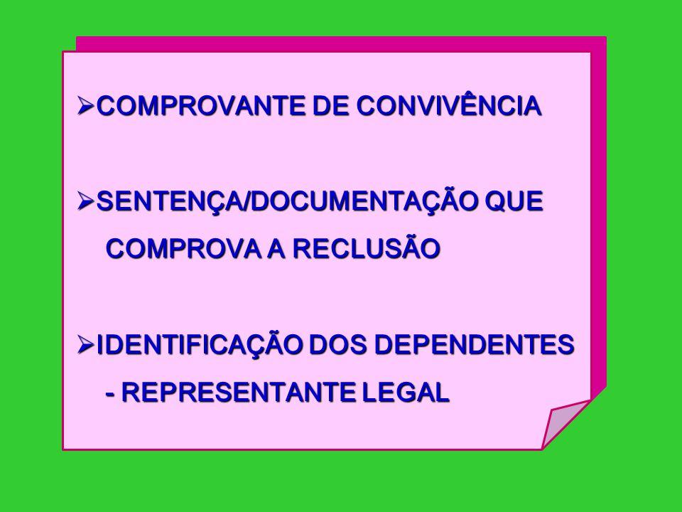  COMPROVANTE DE CONVIVÊNCIA  SENTENÇA/DOCUMENTAÇÃO QUE COMPROVA A RECLUSÃO COMPROVA A RECLUSÃO  IDENTIFICAÇÃO DOS DEPENDENTES - REPRESENTANTE LEGAL