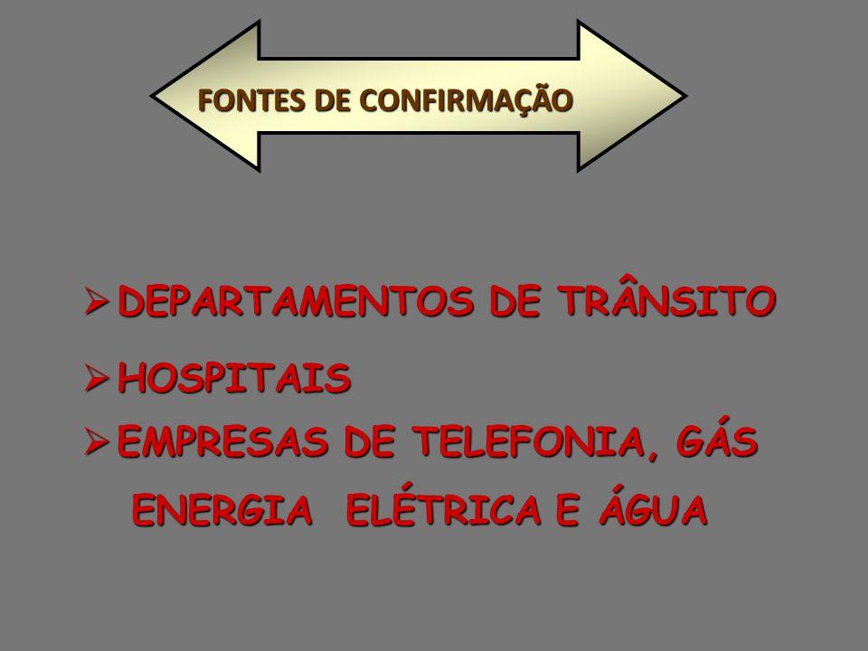  DEPARTAMENTOS DE TRÂNSITO  HOSPITAIS FONTES DE CONFIRMAÇÃO  EMPRESAS DE TELEFONIA, GÁS ENERGIA ELÉTRICA E ÁGUA ENERGIA ELÉTRICA E ÁGUA