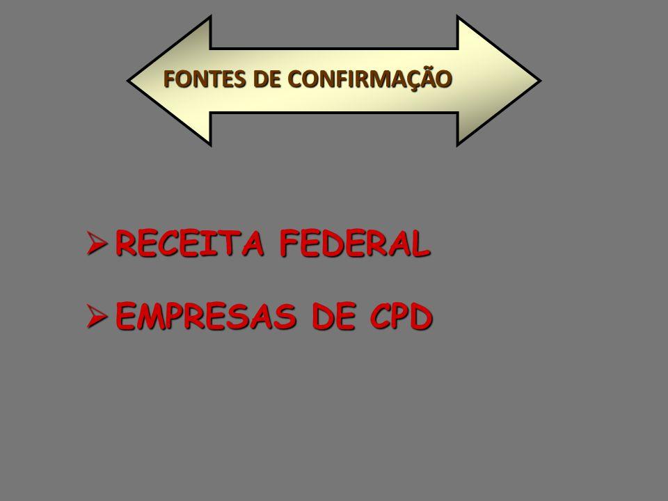  RECEITA FEDERAL  EMPRESAS DE CPD FONTES DE CONFIRMAÇÃO