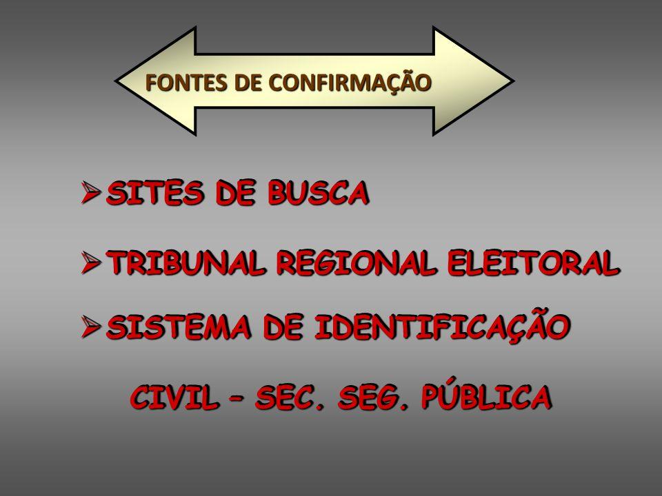  SITES DE BUSCA  TRIBUNAL REGIONAL ELEITORAL  SITES DE BUSCA  TRIBUNAL REGIONAL ELEITORAL  SISTEMA DE IDENTIFICAÇÃO CIVIL – SEC. SEG. PÚBLICA CIV