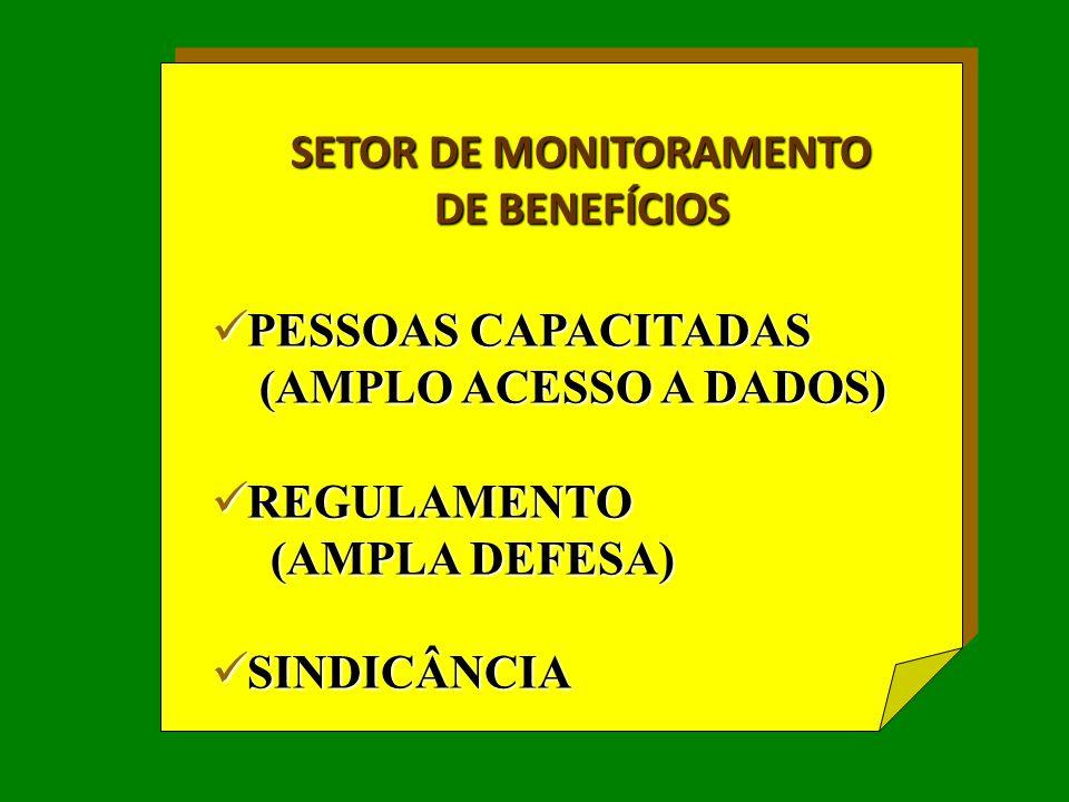 SETOR DE MONITORAMENTO DE BENEFÍCIOS  PESSOAS CAPACITADAS (AMPLO ACESSO A DADOS) (AMPLO ACESSO A DADOS)  REGULAMENTO (AMPLA DEFESA) (AMPLA DEFESA) 