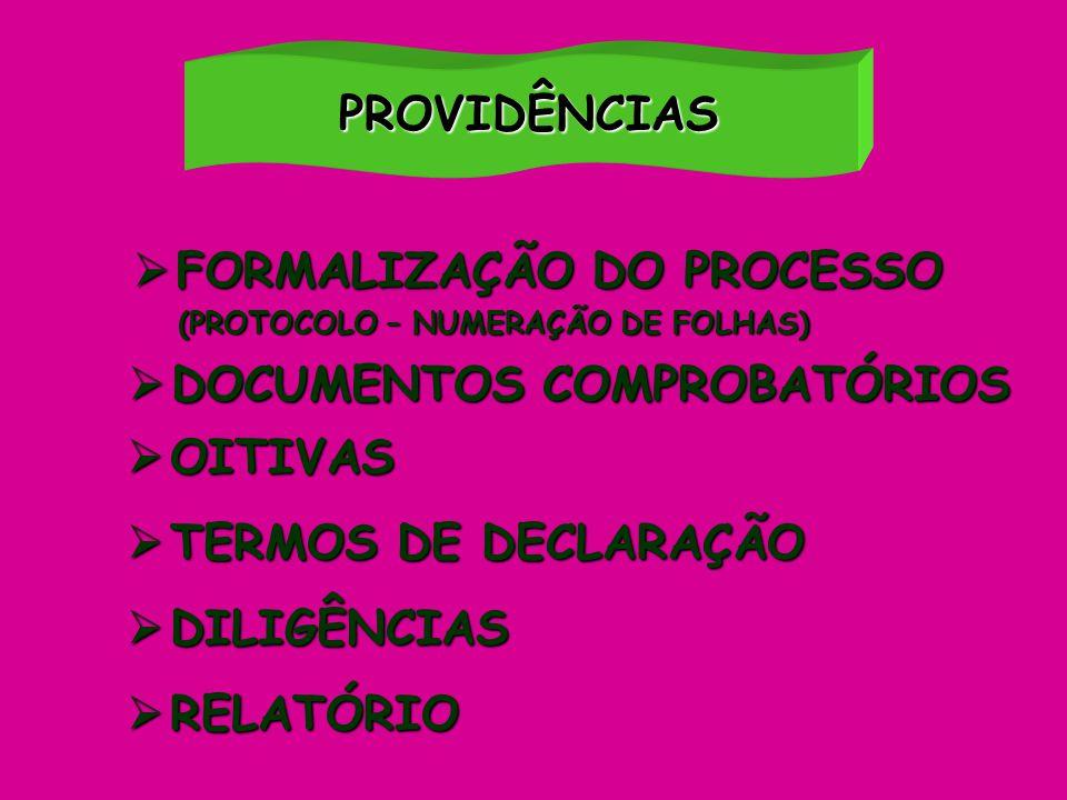 PROVIDÊNCIAS  OITIVAS  TERMOS DE DECLARAÇÃO  DILIGÊNCIAS  RELATÓRIO  FORMALIZAÇÃO DO PROCESSO (PROTOCOLO – NUMERAÇÃO DE FOLHAS) (PROTOCOLO – NUME