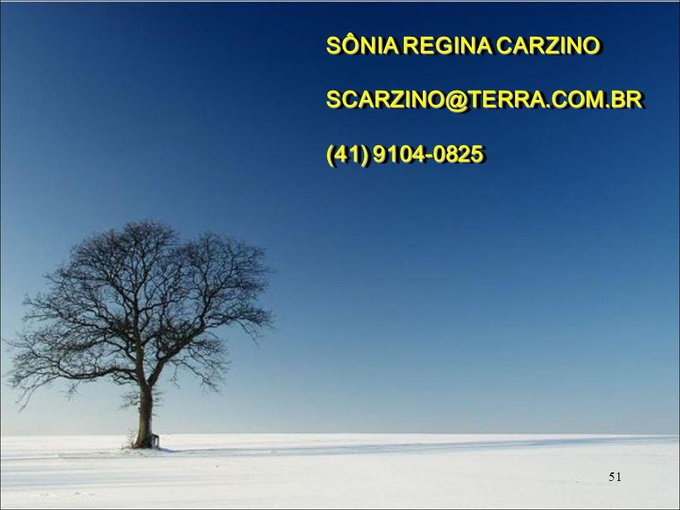 51 SÔNIA REGINA CARZINO SCARZINO@TERRA.COM.BR (41) 9104-0825 SÔNIA REGINA CARZINO SCARZINO@TERRA.COM.BR (41) 9104-0825