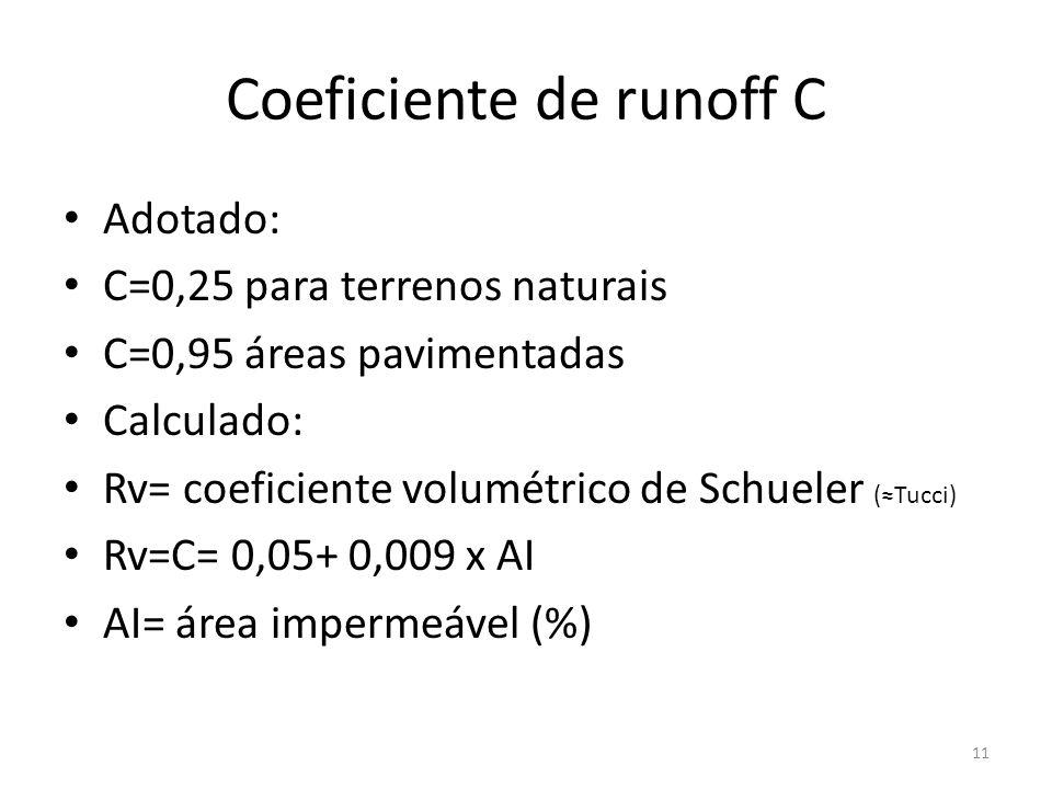 Coeficiente de runoff C • Adotado: • C=0,25 para terrenos naturais • C=0,95 áreas pavimentadas • Calculado: • Rv= coeficiente volumétrico de Schueler