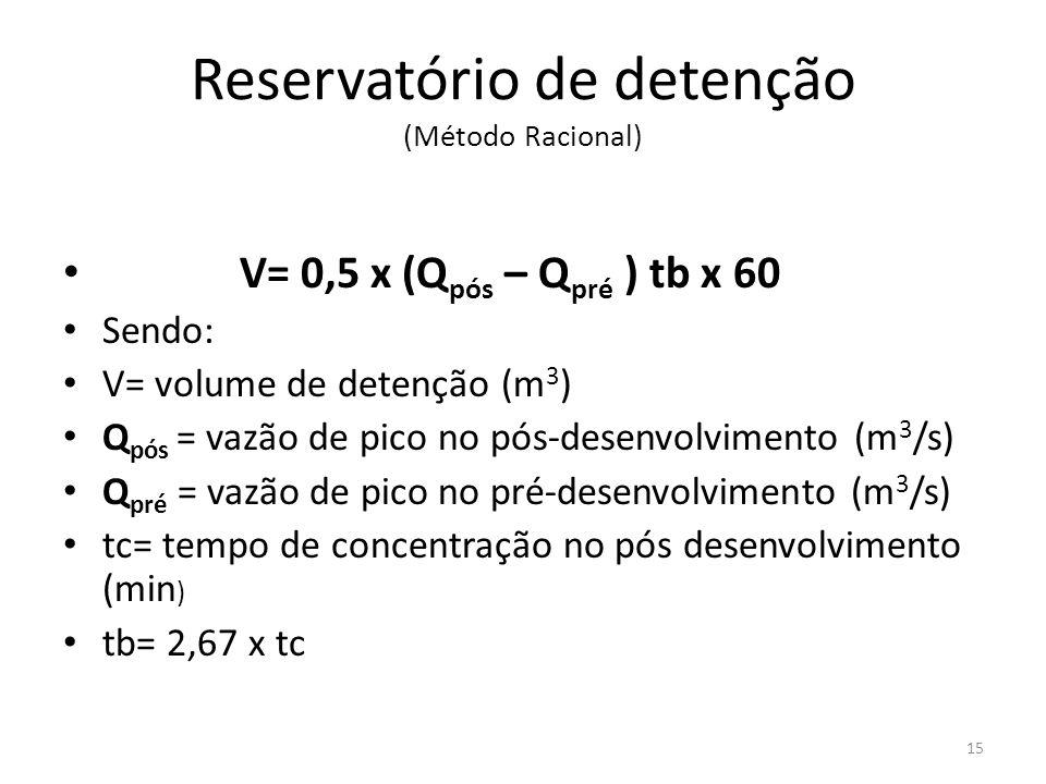 Reservatório de detenção (Método Racional) • V= 0,5 x (Q pós – Q pré ) tb x 60 • Sendo: • V= volume de detenção (m 3 ) • Q pós = vazão de pico no pós-