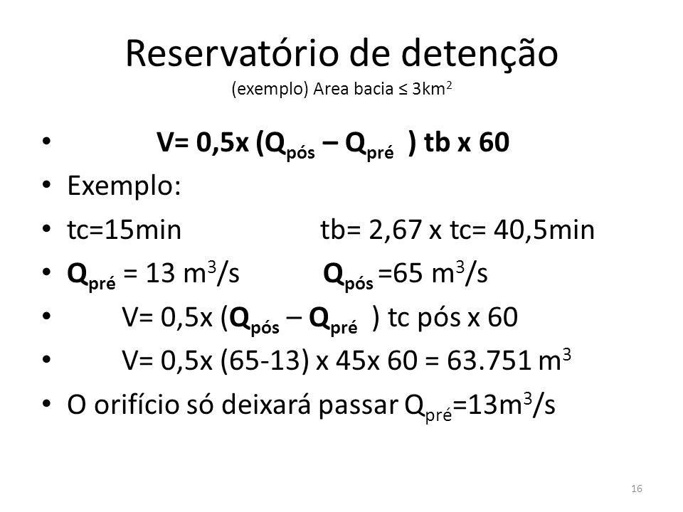 Reservatório de detenção (exemplo) Area bacia ≤ 3km 2 • V= 0,5x (Q pós – Q pré ) tb x 60 • Exemplo: • tc=15min tb= 2,67 x tc= 40,5min • Q pré = 13 m 3