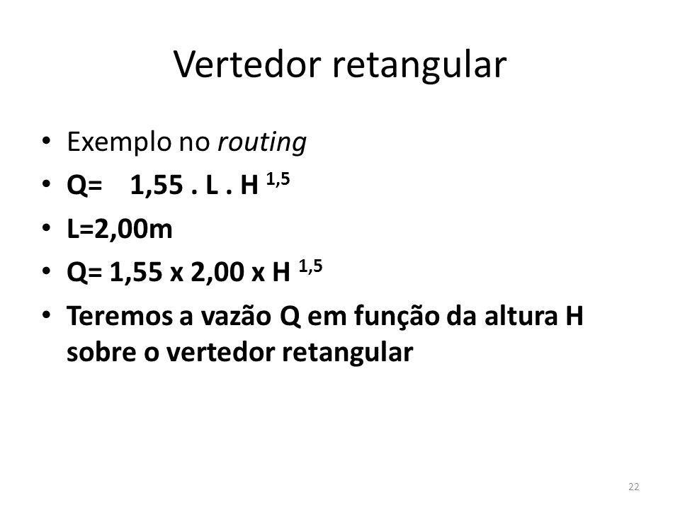 Vertedor retangular • Exemplo no routing • Q= 1,55. L. H 1,5 • L=2,00m • Q= 1,55 x 2,00 x H 1,5 • Teremos a vazão Q em função da altura H sobre o vert