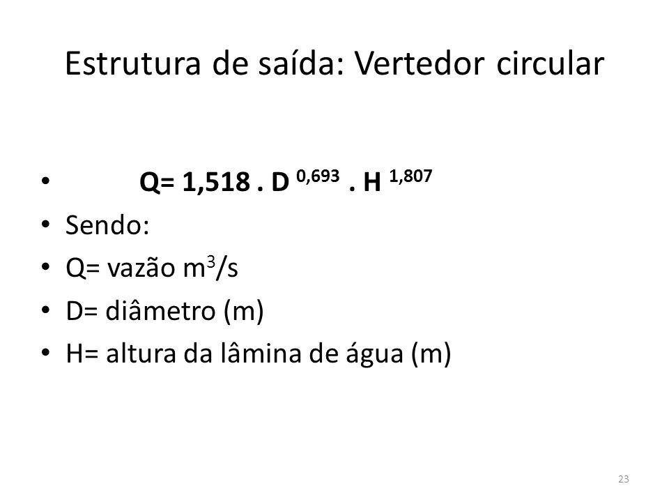 Estrutura de saída: Vertedor circular • Q= 1,518. D 0,693. H 1,807 • Sendo: • Q= vazão m 3 /s • D= diâmetro (m) • H= altura da lâmina de água (m) 23