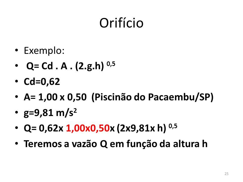 Orifício • Exemplo: • Q= Cd. A. (2.g.h) 0,5 • Cd=0,62 • A= 1,00 x 0,50 (Piscinão do Pacaembu/SP) • g=9,81 m/s 2 • Q= 0,62x 1,00x0,50x (2x9,81x h) 0,5