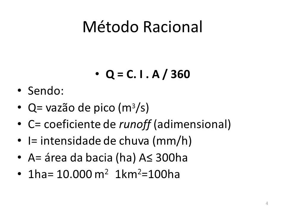 Método Racional • Q = C. I. A / 360 • Sendo: • Q= vazão de pico (m 3 /s) • C= coeficiente de runoff (adimensional) • I= intensidade de chuva (mm/h) •