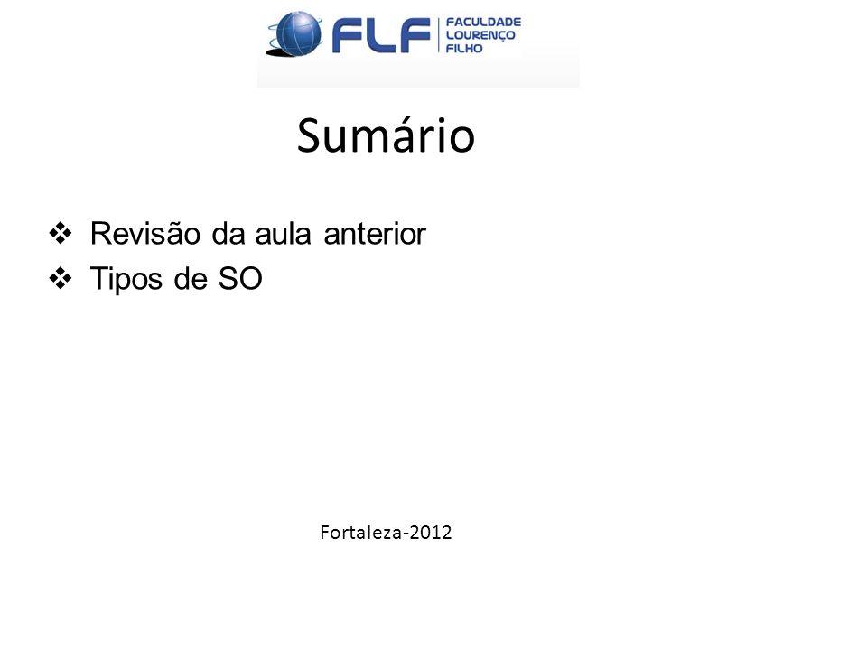 Sumário  Revisão da aula anterior  Tipos de SO Fortaleza-2012