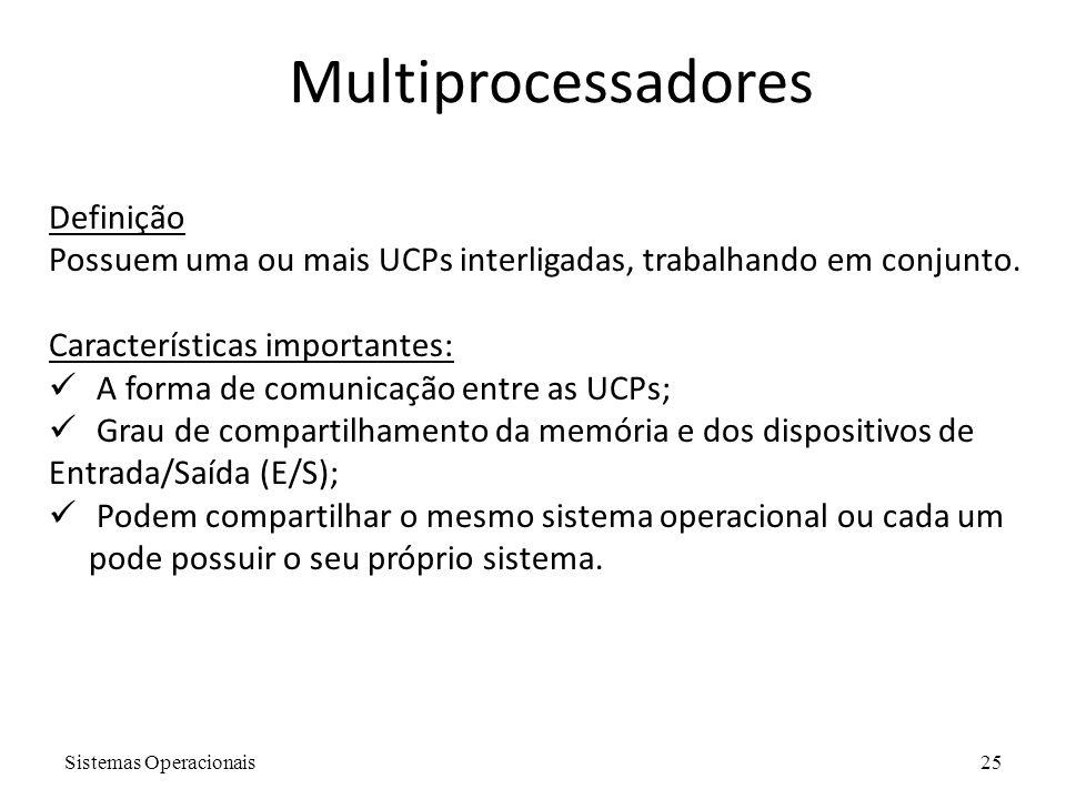 Sistemas Operacionais25 Definição Possuem uma ou mais UCPs interligadas, trabalhando em conjunto. Características importantes:  A forma de comunicaçã
