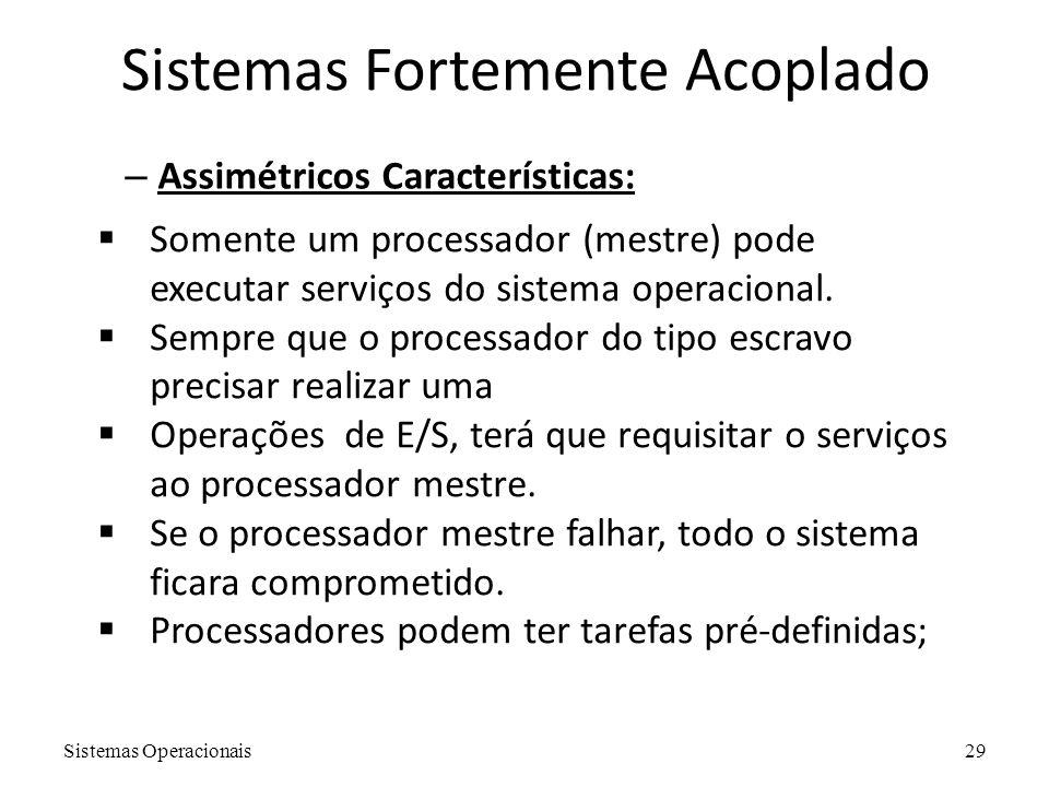 Sistemas Operacionais29 Sistemas Fortemente Acoplado – Assimétricos Características:  Somente um processador (mestre) pode executar serviços do siste