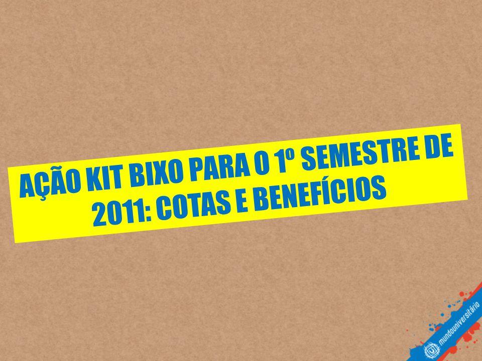 AÇÃO KIT BIXO PARA O 1º SEMESTRE DE 2011: COTAS E BENEFÍCIOS