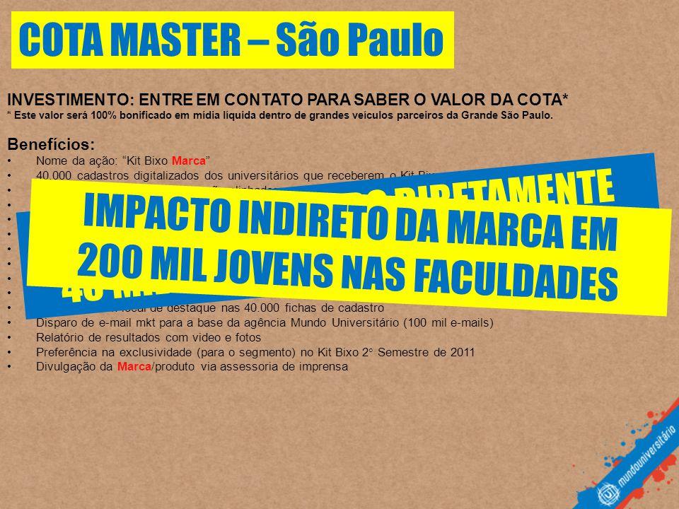 INVESTIMENTO: ENTRE EM CONTATO PARA SABER O VALOR DA COTA* * Este valor será 100% bonificado em mídia líquida dentro de grandes veículos parceiros da Grande São Paulo.