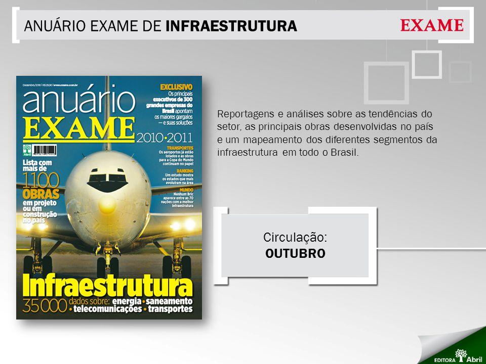 ANUÁRIO EXAME DE INFRAESTRUTURA Reportagens e análises sobre as tendências do setor, as principais obras desenvolvidas no país e um mapeamento dos diferentes segmentos da infraestrutura em todo o Brasil.
