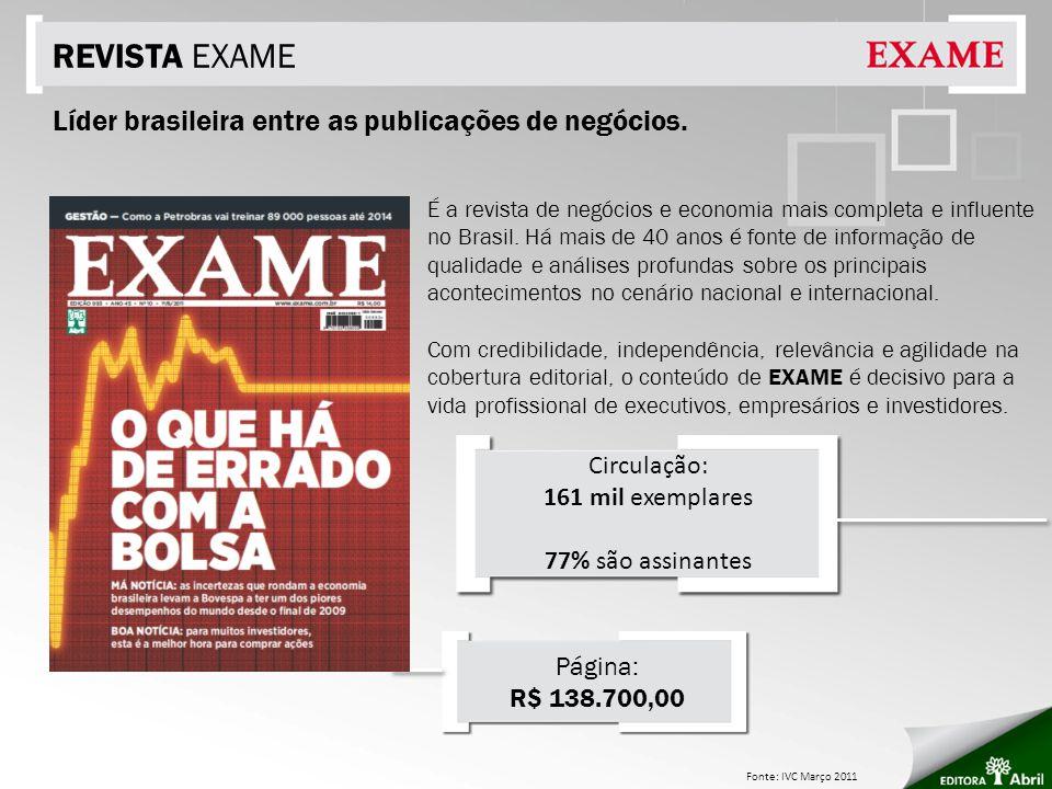 REVISTA EXAME É a revista de negócios e economia mais completa e influente no Brasil. Há mais de 40 anos é fonte de informação de qualidade e análises