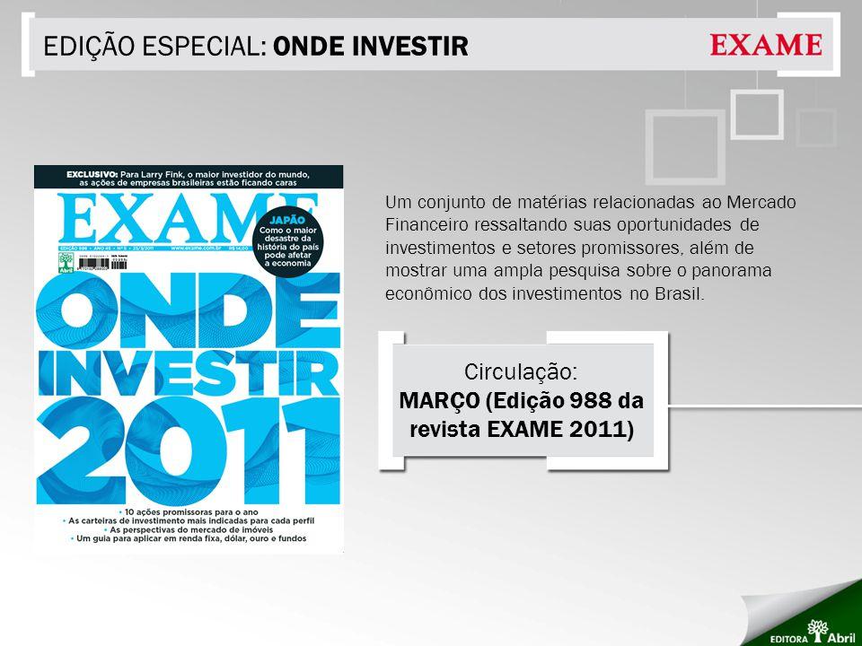 EDIÇÃO ESPECIAL: ONDE INVESTIR Um conjunto de matérias relacionadas ao Mercado Financeiro ressaltando suas oportunidades de investimentos e setores promissores, além de mostrar uma ampla pesquisa sobre o panorama econômico dos investimentos no Brasil.