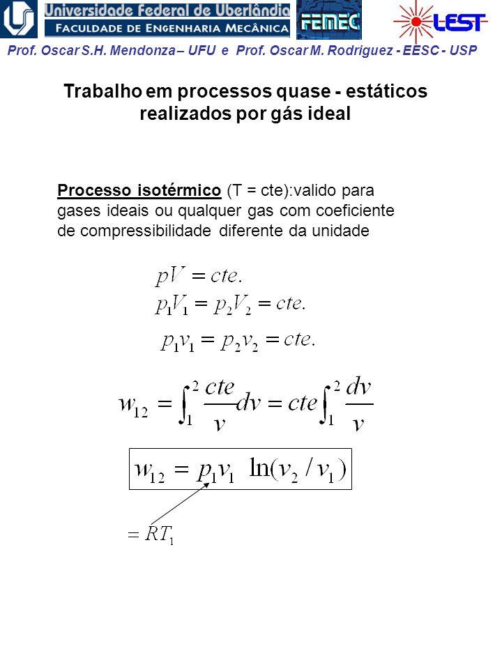 Prof. Oscar S.H. Mendonza – UFU e Prof. Oscar M. Rodriguez - EESC - USP Trabalho em processos quase - estáticos realizados por gás ideal Processo isot