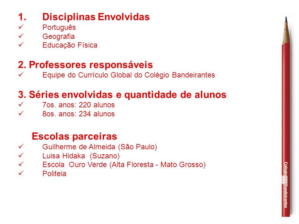 1.Disciplinas Envolvidas  Português  Geografia  Educação Física 2. Professores responsáveis  Equipe do Currículo Global do Colégio Bandeirantes 3.