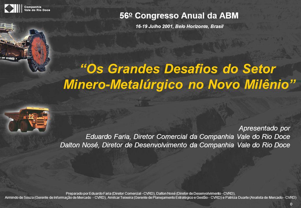 """0 """"Os Grandes Desafios do Setor Minero-Metalúrgico no Novo Milênio"""" 56 o Congresso Anual da ABM 16-19 Julho 2001, Belo Horizonte, Brasil Apresentado p"""