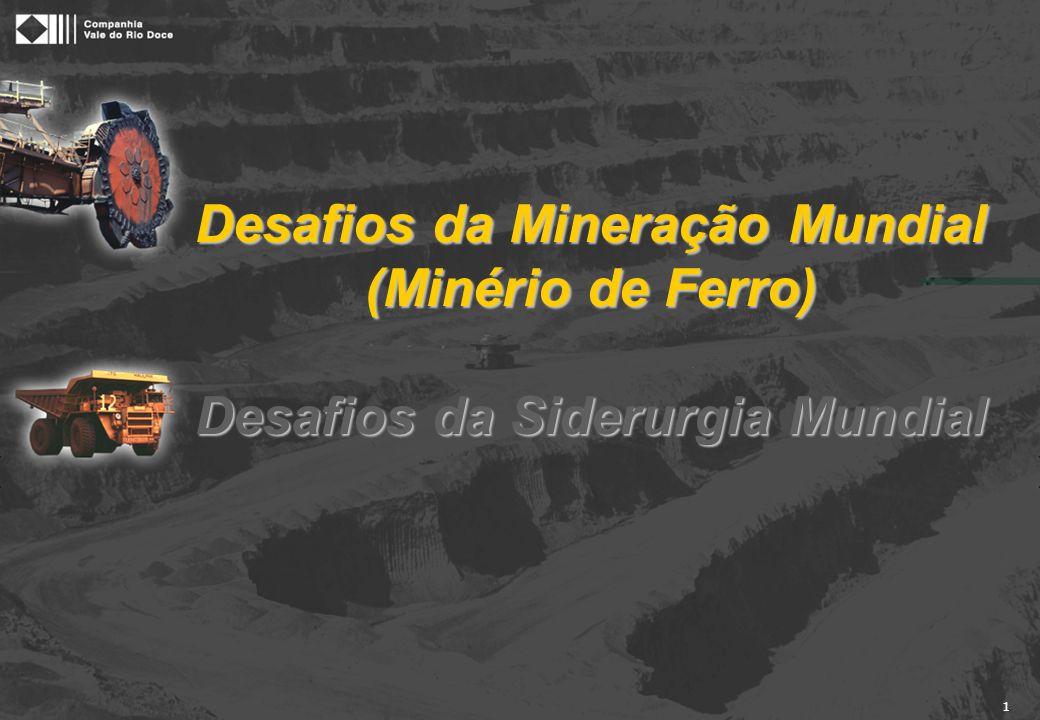 1 Desafios da Mineração Mundial (Minério de Ferro) Desafios da Siderurgia Mundial