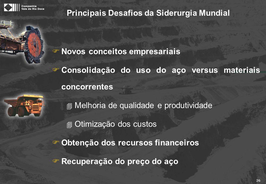 26 Principais Desafios da Siderurgia Mundial FNovos conceitos empresariais FConsolidação do uso do aço versus materiais concorrentes 4 Melhoria de qua