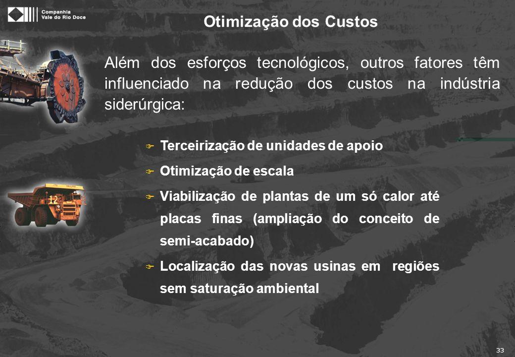 33 Além dos esforços tecnológicos, outros fatores têm influenciado na redução dos custos na indústria siderúrgica: Otimização dos Custos F Terceirizaç