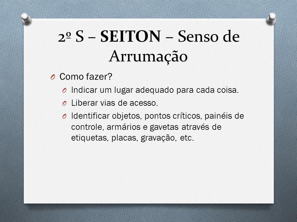 2º S – SEITON – Senso de Arrumação O Como fazer.O Indicar um lugar adequado para cada coisa.