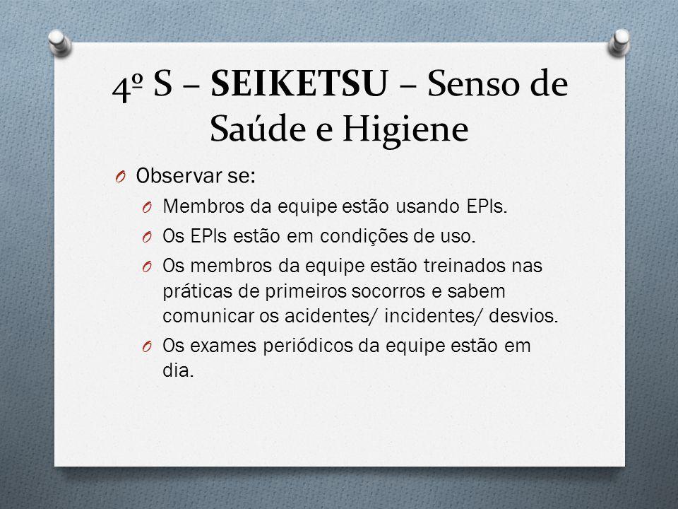4º S – SEIKETSU – Senso de Saúde e Higiene O Observar se: O Membros da equipe estão usando EPIs.