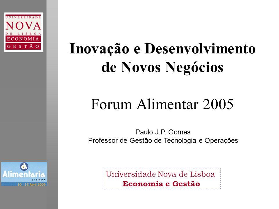 Inovação e Desenvolvimento de Novos Negócios Forum Alimentar 2005 Universidade Nova de Lisboa Economia e Gestão Paulo J.P.