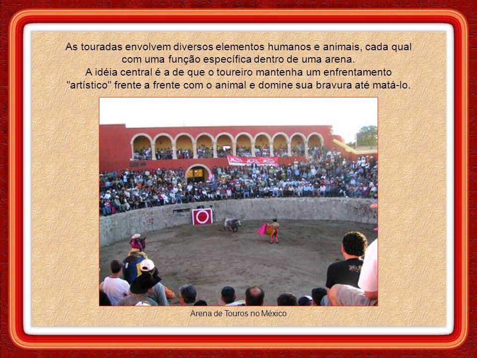 As touradas envolvem diversos elementos humanos e animais, cada qual com uma função específica dentro de uma arena.