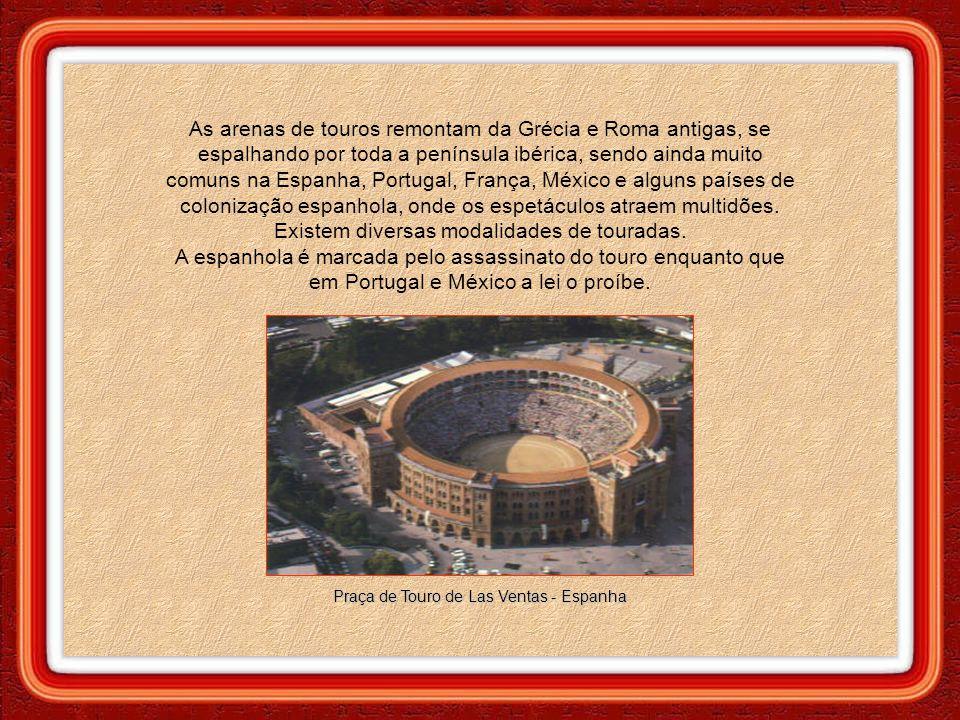 As arenas de touros remontam da Grécia e Roma antigas, se espalhando por toda a península ibérica, sendo ainda muito comuns na Espanha, Portugal, França, México e alguns países de colonização espanhola, onde os espetáculos atraem multidões.