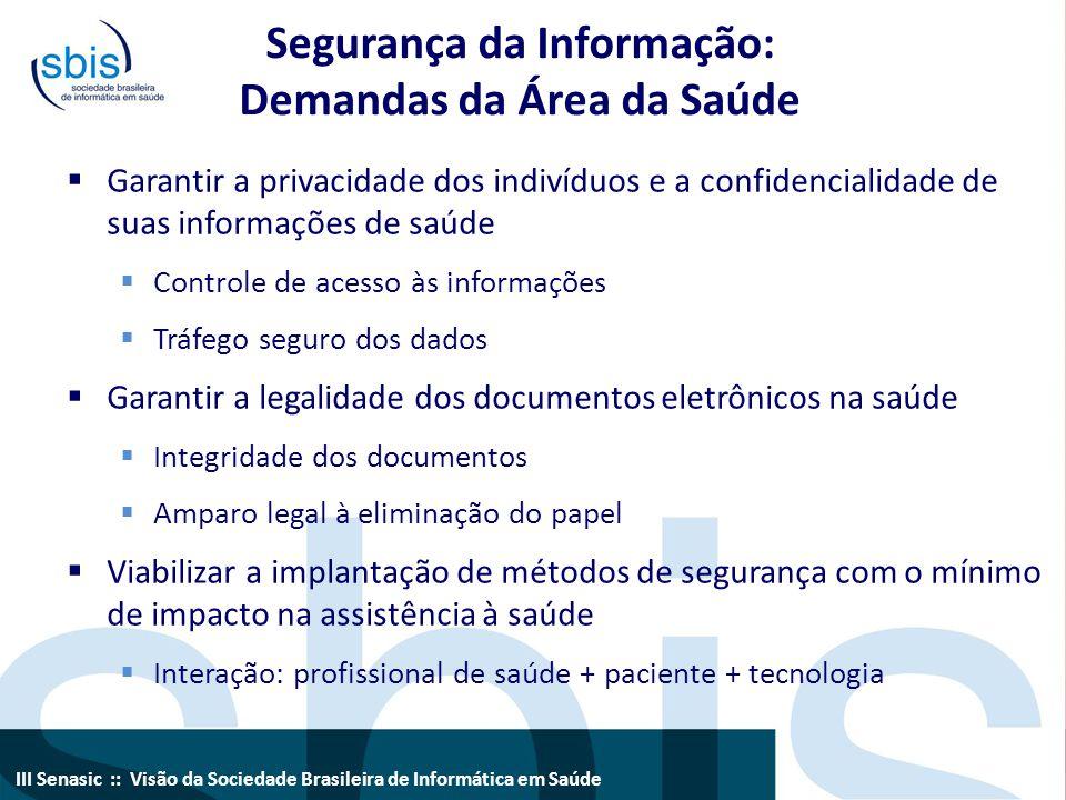 III Senasic :: Visão da Sociedade Brasileira de Informática em Saúde Segurança da Informação: Demandas da Área da Saúde  Garantir a privacidade dos i