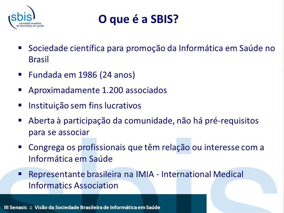 III Senasic :: Visão da Sociedade Brasileira de Informática em Saúde O que é a SBIS?  Sociedade científica para promoção da Informática em Saúde no B
