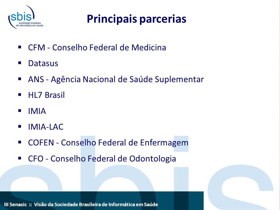 III Senasic :: Visão da Sociedade Brasileira de Informática em Saúde Principais parcerias  CFM - Conselho Federal de Medicina  Datasus  ANS - Agênc