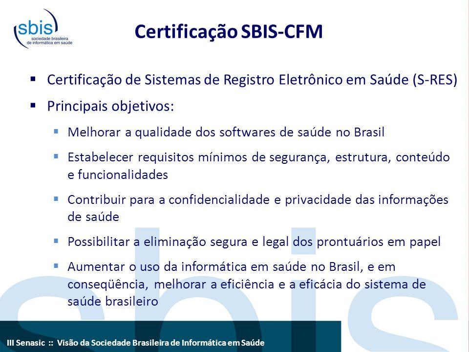 III Senasic :: Visão da Sociedade Brasileira de Informática em Saúde Certificação SBIS-CFM  Referencial técnico e legal  Resoluções do CFM  Legislação referente à ICP-Brasil  Normas ISO e ABNT  Modelo ANSI HL7  Avaliação de conformidade através de auditorias  Emissão de Certificados e Selos de Conformidade