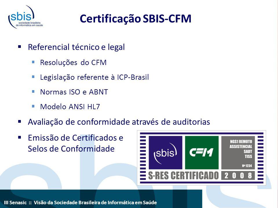 III Senasic :: Visão da Sociedade Brasileira de Informática em Saúde Certificação SBIS-CFM  Referencial técnico e legal  Resoluções do CFM  Legisla